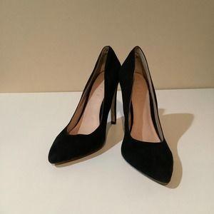 Office London black suede pump stilettos heels